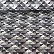 GEO, szürke geometrikus nyomott mintás pamutvászon méteráru