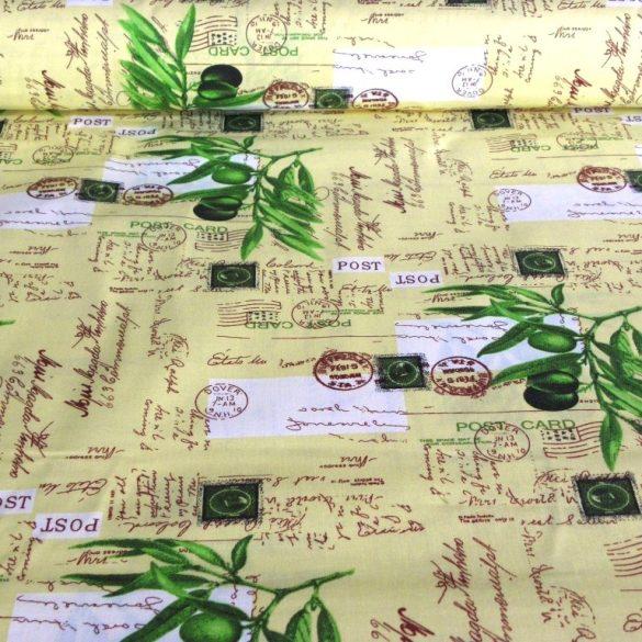 OLIVA, levelezőlapos, olivás mintás pamutvászon