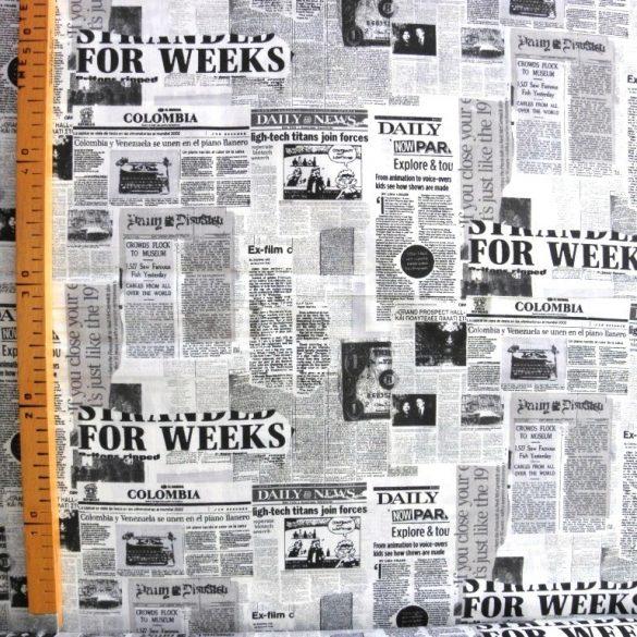 MAGAZIN, újság mintás, fekete-fehér pamutvászon