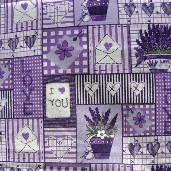 LOVE, lila levendulás, patchwork mintás pamutvászon