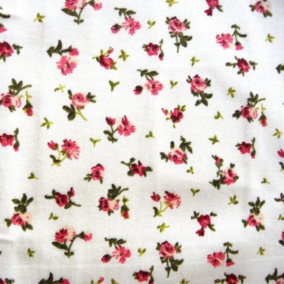 Apró bordó-rózsaszín rózsás pamutvászon