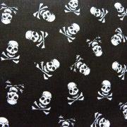 Halálfejes fekete pamutvászon