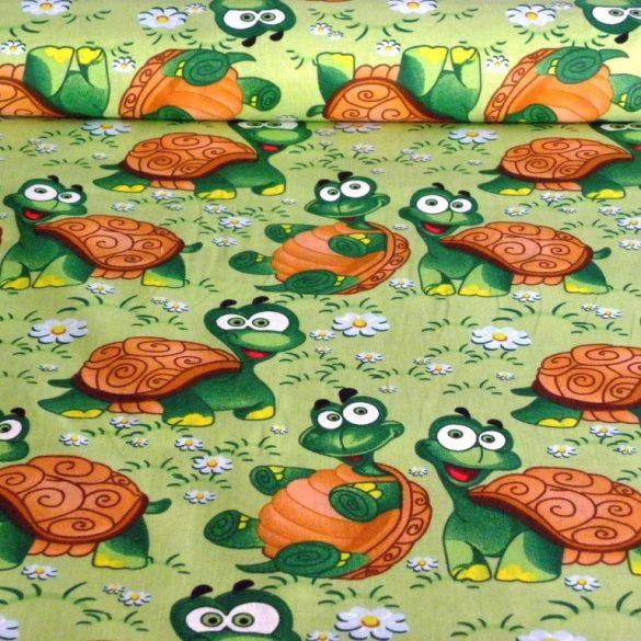 TEKNŐCE, teknősbéka mintás pamutvászon
