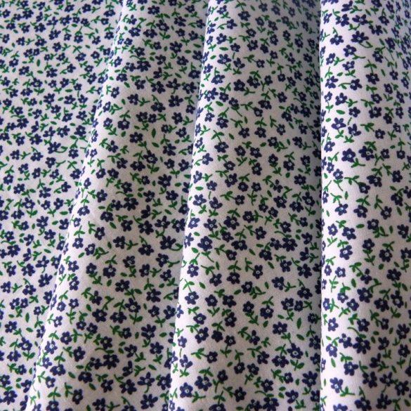 TINY, apróvirágos pamut vászon méteráru, kék-zöld