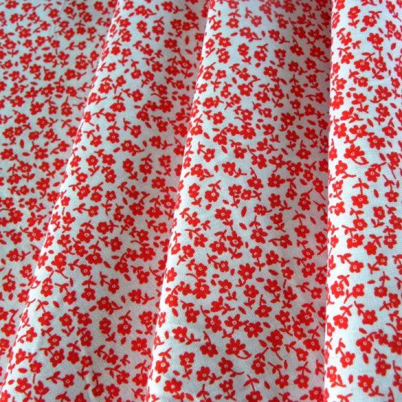 TINY, apróvirágos pamut vászon méteráru, piros-piros