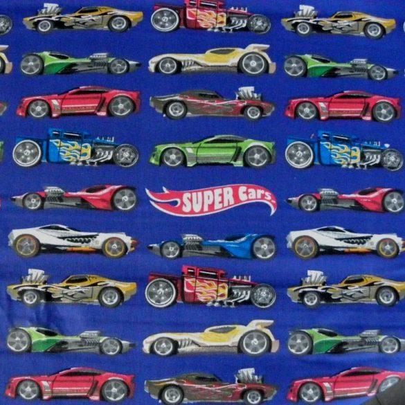 SUPER CAR, versenyautó mintás pamutvászon