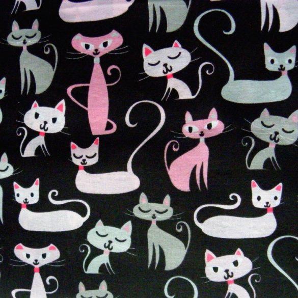 CIRMI, színes cica mintás gyerektextil pamutvászon méteráru