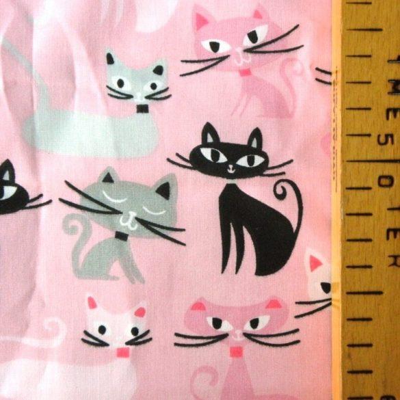 Szerénke, cicás rózsaszín pamut vászon méteráru