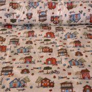 LITTLETOWN, színes házikó mintás gyerektextil pamutvászon méteráru