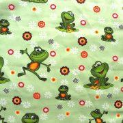 BREKI, zöld béka gyerekmintás pamut vászon