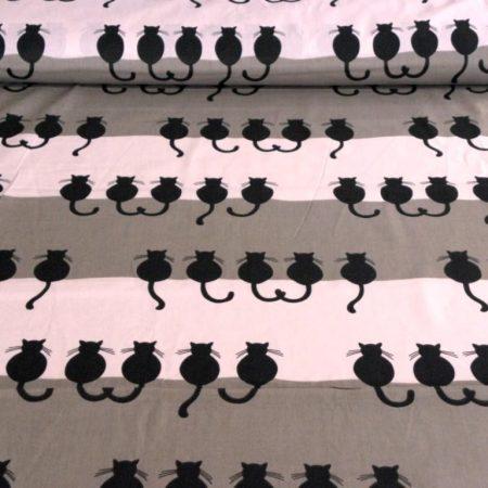 LUCIFER, fekete macska mintás gyerektextil pamutvászon méteráru, rózsaszín-szürkésdrapp