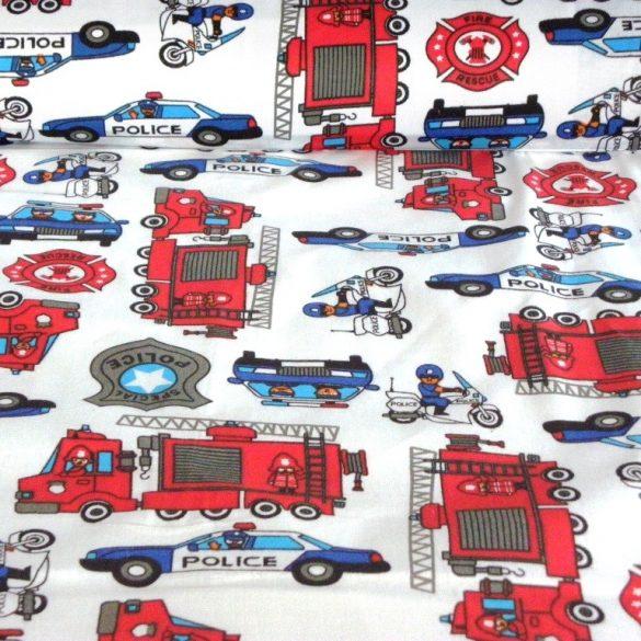RESCUE, tűzoltóautó, rendőrautó mintás gyerektextil pamutvászon méteráru