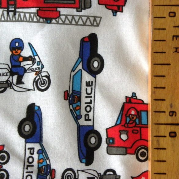 RESCUE, tűzoltó, rendőrautó mintás pamut vászon