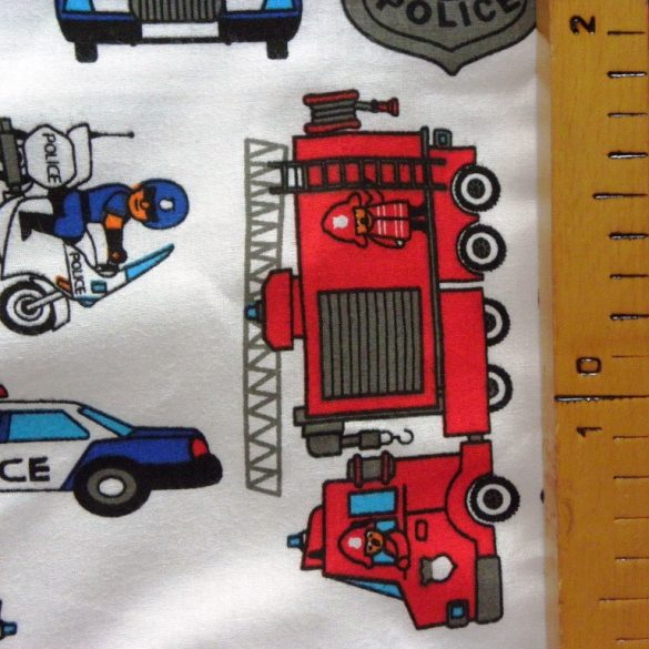 RESCUE, tűzoltó, rendőrautó mintás pamutvászon