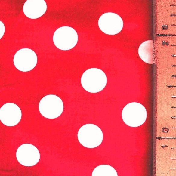 Piros, nagy fehér pöttyös pamut vászon