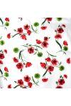 LIDI, lila-zöld csíkos, virágos pamutvászon