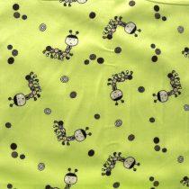 Hernyócska, barna-zöld gyerekmintás pamut vászon