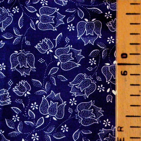 TULIPÁN mintás kékfestő jellegű pamut vászon