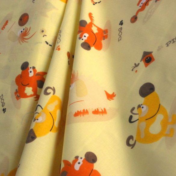 JOKE, vicces állatok, sárga gyerekmintás pamut vászon