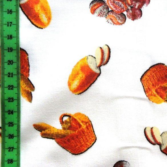 KENYÉR, pékáru mintás pamutvászon - fehér