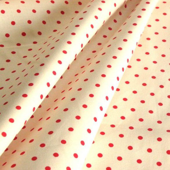 PUNTOBELLO, krém, piros pöttyös pamutvászon, extra széles