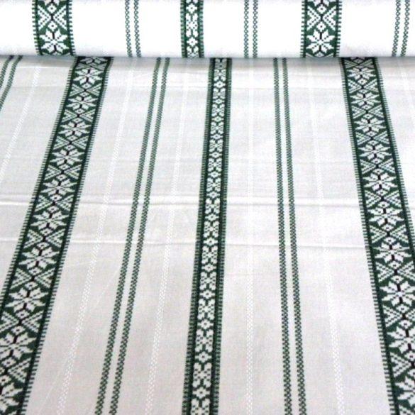 PALÓC, szőttes, száda zöld mintás pamut vászon