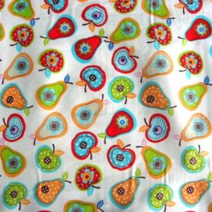 Színes alma, körte mintás pamut vászon anyag
