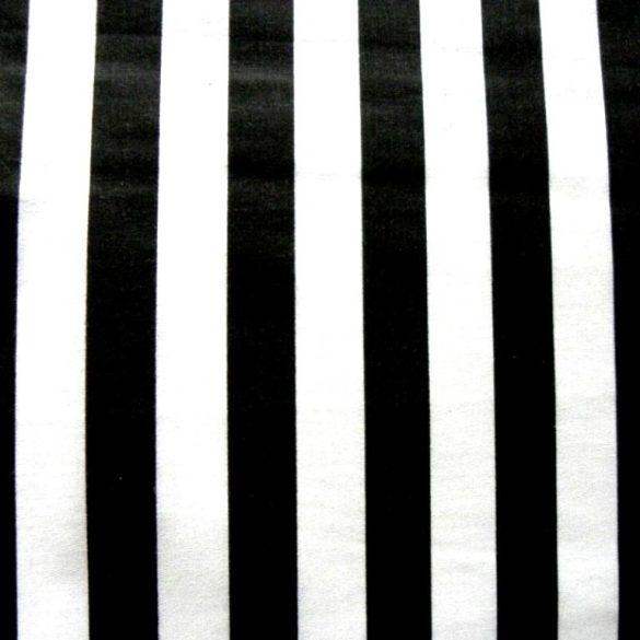 Fekete széles csíkos pamutvászon