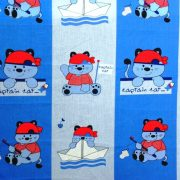 SKIPPER, hajós cica mintás pamut vászon anyag