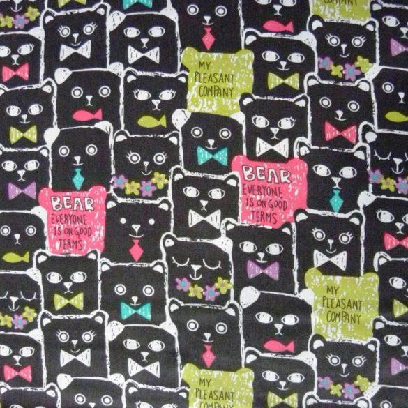 Black bear, maci mintás pamut vászon