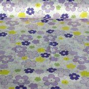 BOHÓCVIRÁG, lila virágmintás pamut vászon