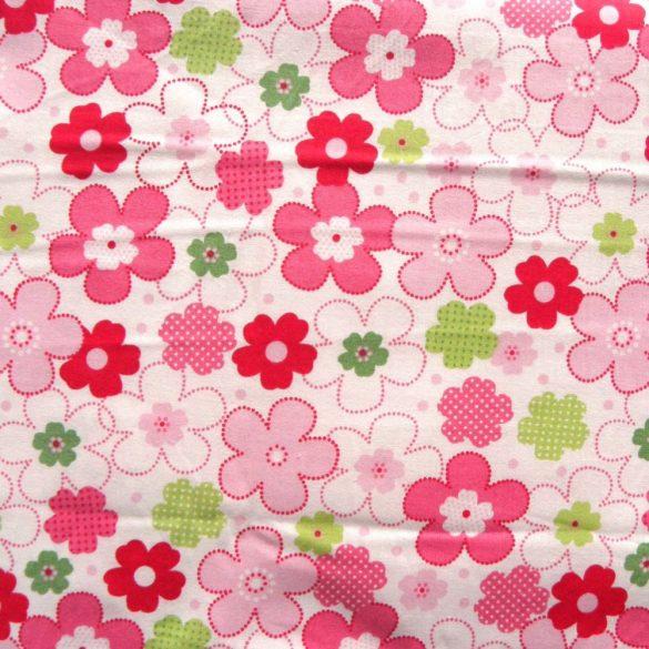 BOHÓCVIRÁG, pink virágmintás pamut vászon