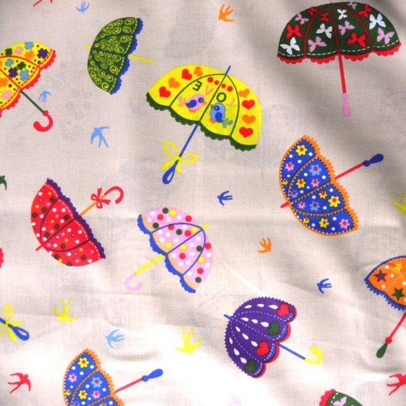 ESERNYŐ, színes esernyő mintás pamutvászon