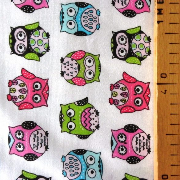 UHU, fehér-pink bagoly mintás gyerektextil pamutvászon méteráru