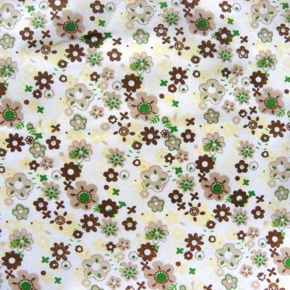 Flowerpower, barna-drapp virágos pamutvászon