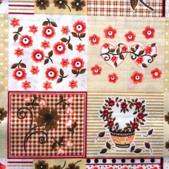 MARIKA, bézs, katicás, patchwork mintás pamutvászon