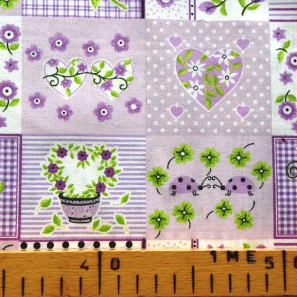 MARIKA, lila, katicás, patchwork mintás pamutvászon