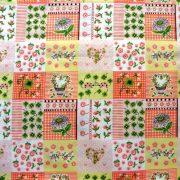 MARIKA, narancs, katicás, patchwork mintás pamutvászon