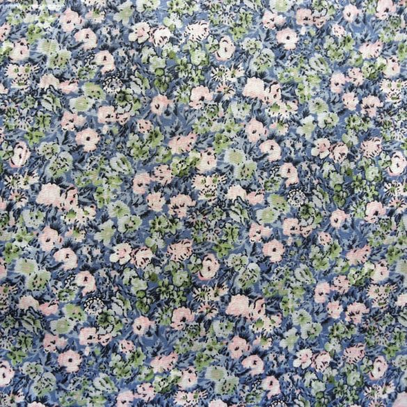 ROMANTIC, kék, virág mintás pamutvászon méteráru