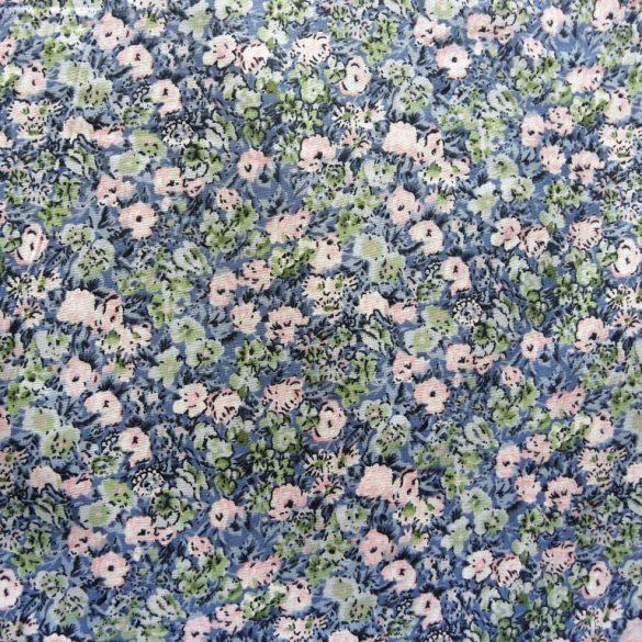 ROMANTIC, kék virág mintás pamutvászon méteráru