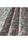ROMANTIC, zöld virág mintás pamutvászon méteráru