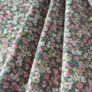 ROMANTIC, zöld, virág mintás pamutvászon méteráru