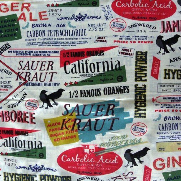 GINGER, címkék mintás pamutvászon méteráru