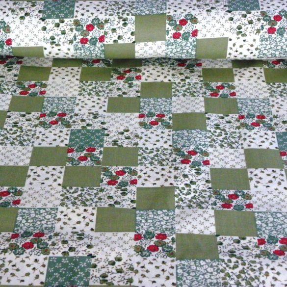 Kiskockás, zöld patchwork mintás pamutvászon