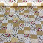 Kiskockás, bézs patchwork mintás pamutvászon