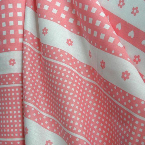 DOLLY, puncs-rózsaszín, csíkos babamintás pamut vászon
