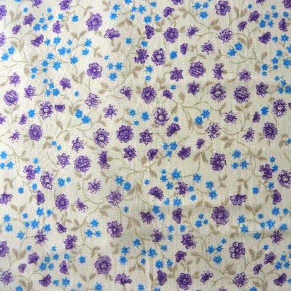 ZINNIA, kisvirágos pamutvászon, kék-lila