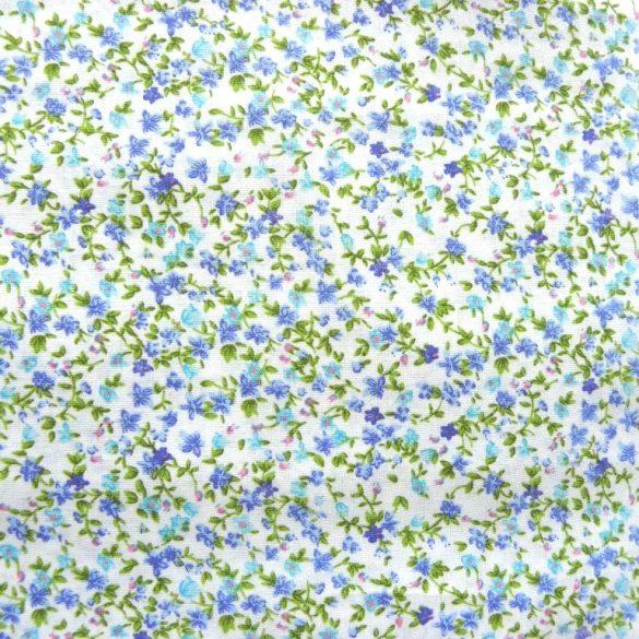 FIORI, apró virágmintás pamutvászon, kék