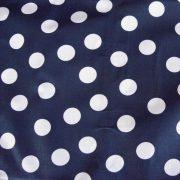 Kék, nagy fehér pöttyös pamut vászon