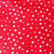 Szórt csillagok mintás pamutvászon - piros
